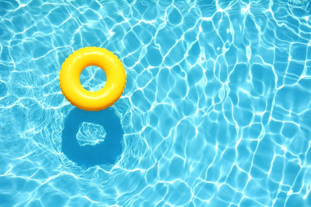 yellow pool float on the swimming pool