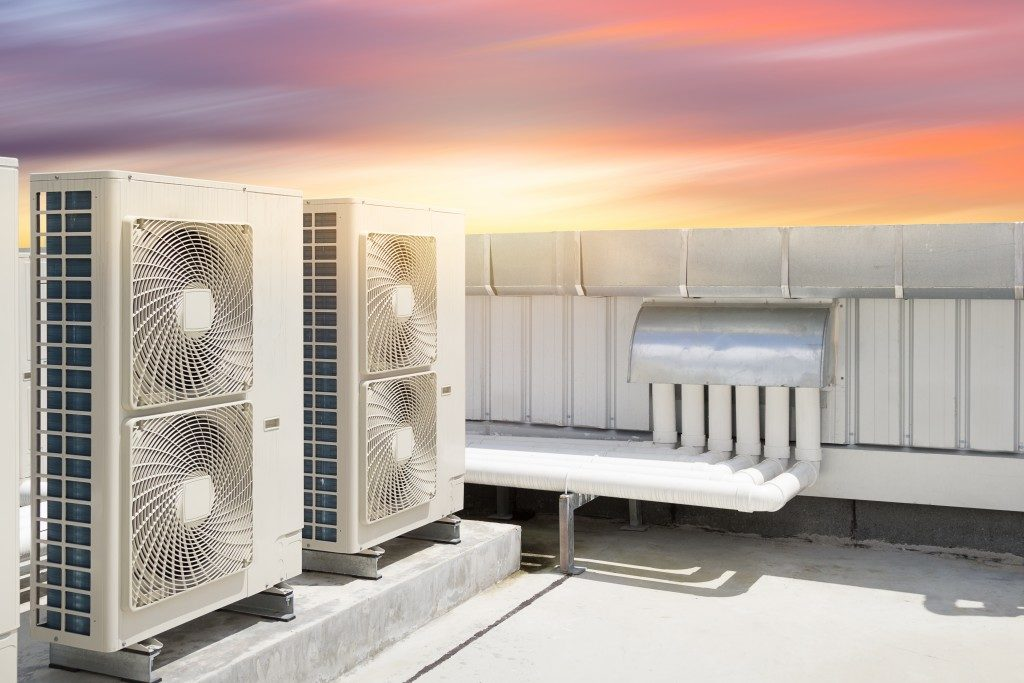 HVAC compressor machines on roof deck