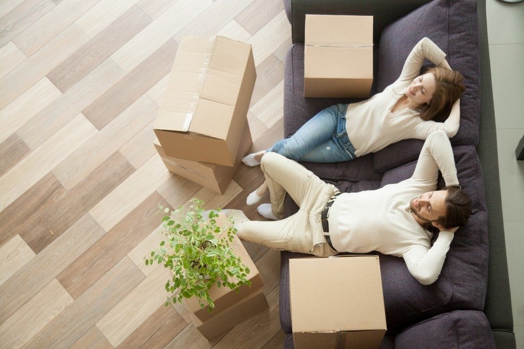 Homeowners moving into their new home