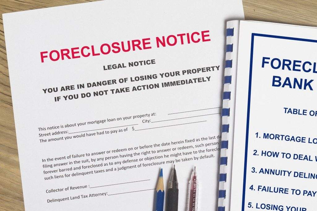Foreclosure notice on the desk