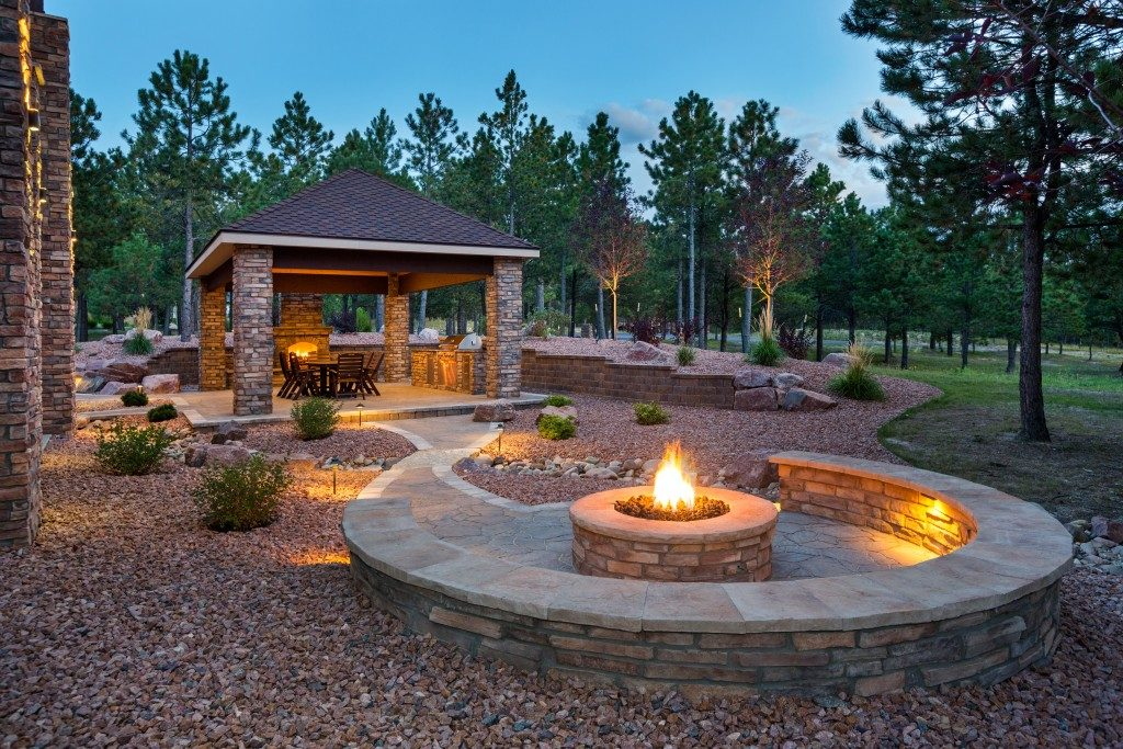 Fire pit at a backyard