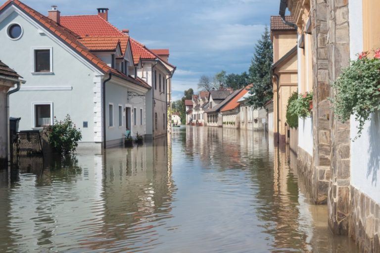 flooding in the village streets