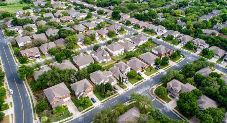 suburban houses top view