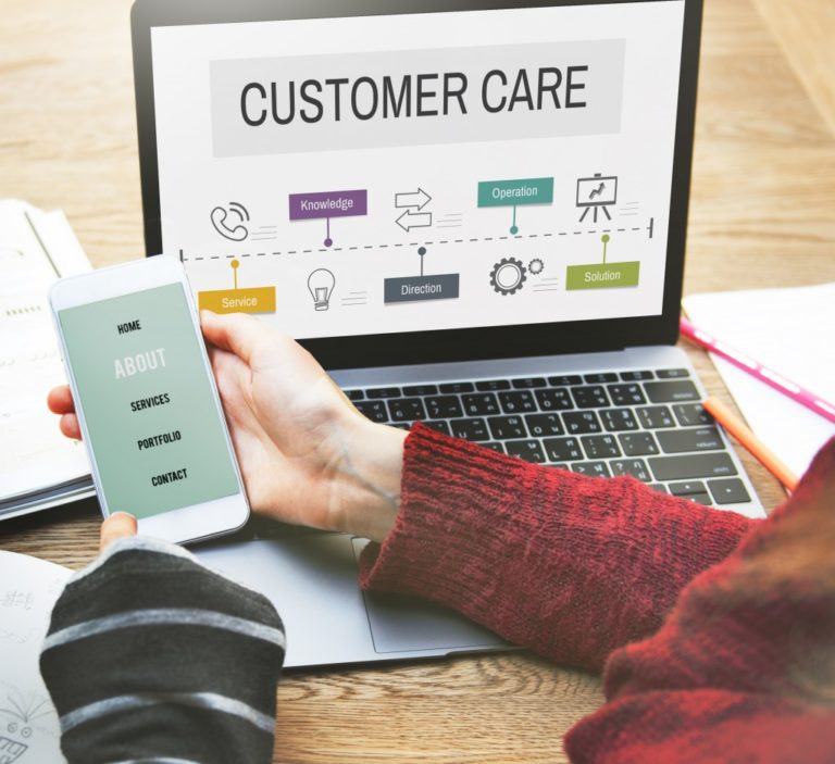 customer care page on a laptop and phone screen