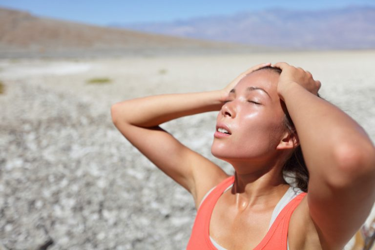 woman sweating from the heat