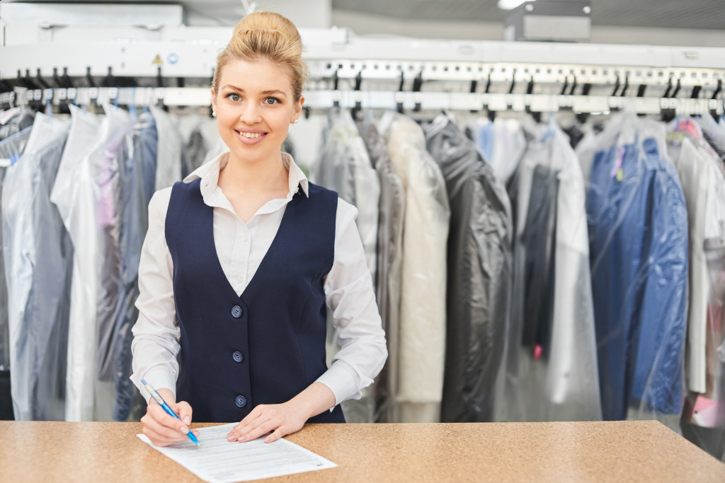 cashier in a drycleaning store