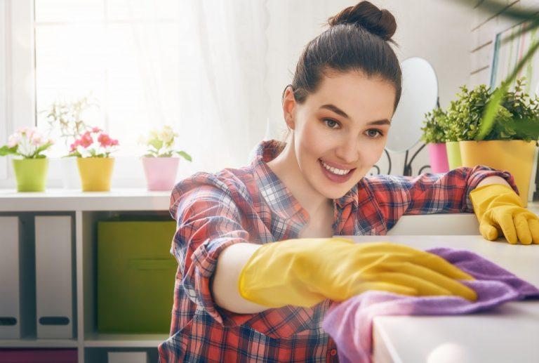 teen doing household chores