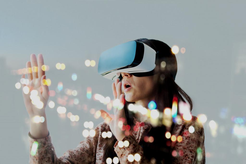 woman wearing VR helmet