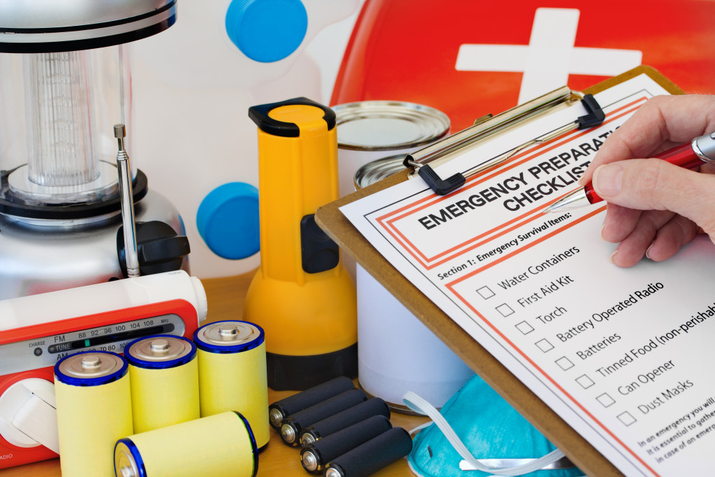 emergency supplies with a checklist