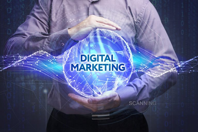 A person holding a hologram of Digital Marketing